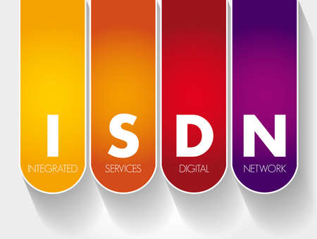 ISDN - Integrated Services Digital Network acronym, technology concept background