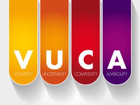 VUCA - Volatility, Uncertainty, Complexity, Ambiguity acronym, business concept background Vecteurs