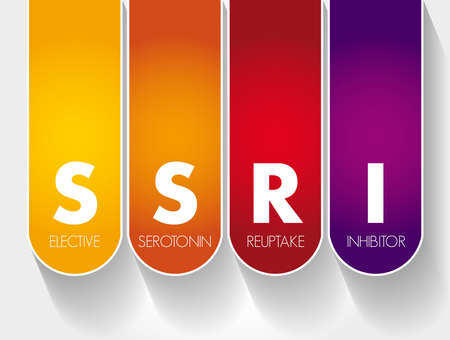 SSRI - Selective Serotonin Reuptake Inhibitor acronym, medical concept background