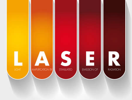 LASER - Light Amplification by Stimulated Emission of Radiation acronym, technology concept background
