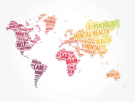 Mental health word cloud in shape of world map, social concept background