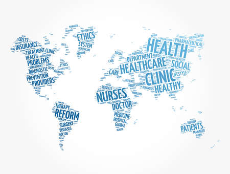 Health word cloud in shape of world map, medical concept background