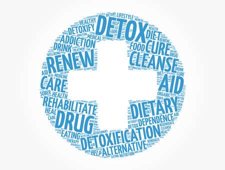 DETOX cross word cloud, health concept background