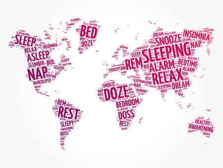 Sleeping word cloud in shape of world map, concept background