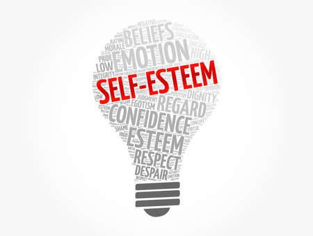 Self-esteem light bulb word cloud, concept background