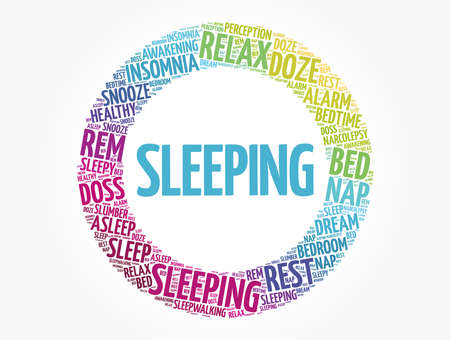 Sleeping word cloud collage, concept background