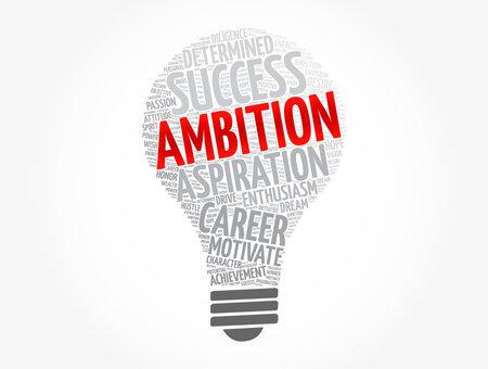 Ambition light bulb word cloud collage, concept background Vektorové ilustrace