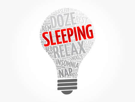 Sleeping light bulb word cloud collage, concept background