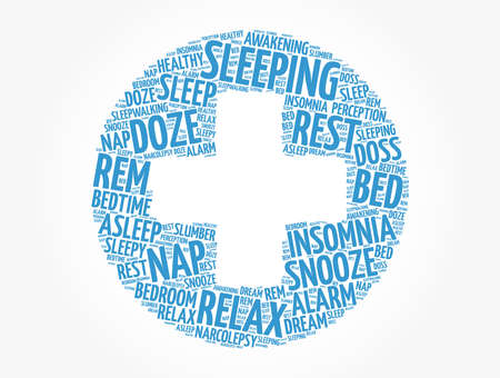 Sleeping health cross word cloud collage, concept background