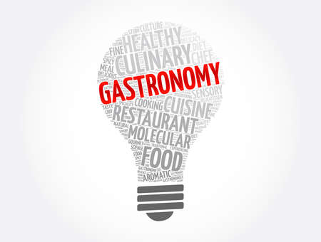 Gastronomy light bulb word cloud collage, concept background