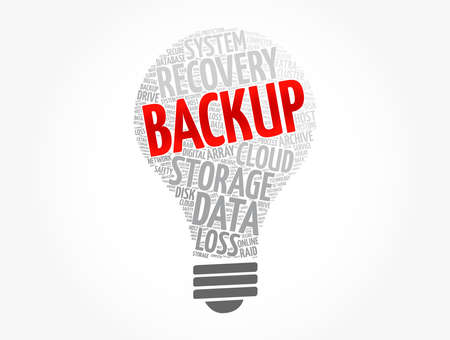 Backup light bulb word cloud, technology concept background