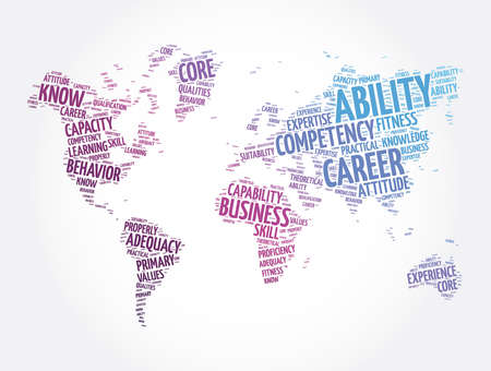 Ability word cloud in shape of world map, concept background