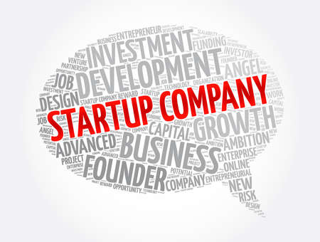 Startup company message bubble word cloud collage, business concept background 向量圖像
