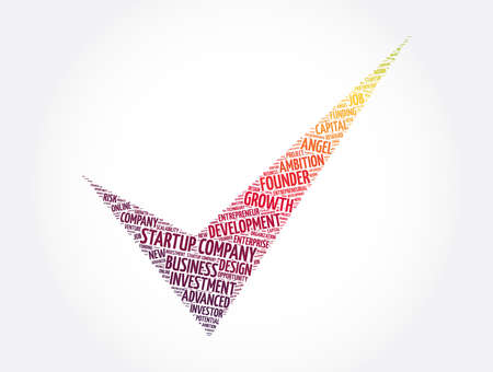 Startup company check mark word cloud collage, business concept background