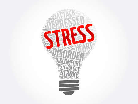 Stress light bulb word cloud collage, health concept background