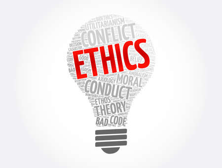 Ethics bulb word cloud collage, concept background