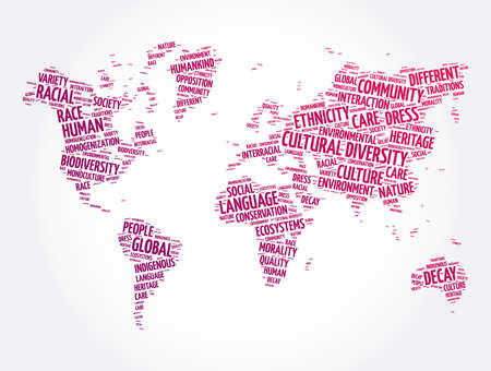 Cultural diversity word cloud in shape of world map, concept background