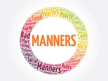 Manners word cloud collage, concept background