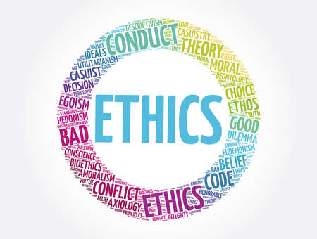 Ethics word cloud collage, concept background