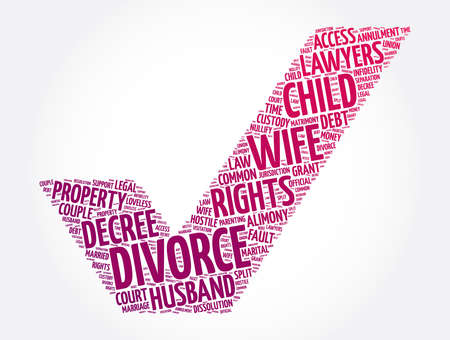 Divorce check mark word cloud collage, concept background