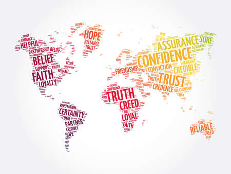 Confidence word cloud in shape of world map, concept background