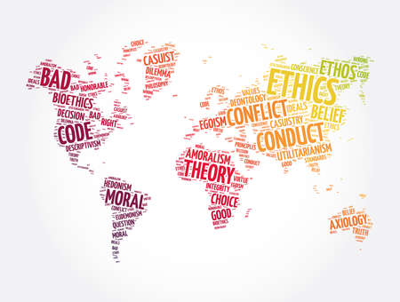 Ethics word cloud in shape of world map, concept background