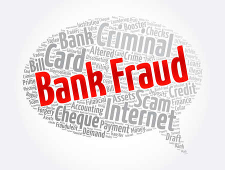 Bank fraud message bubble word cloud collage, business concept background