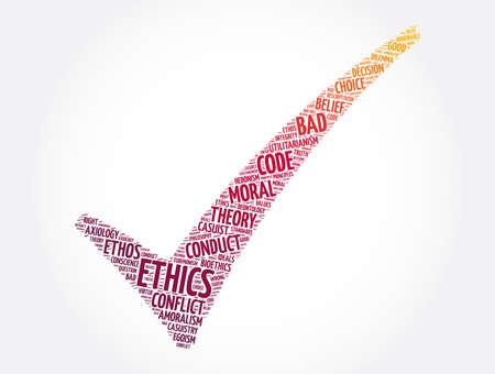 Ethics check mark word cloud collage, concept background Ilustración de vector