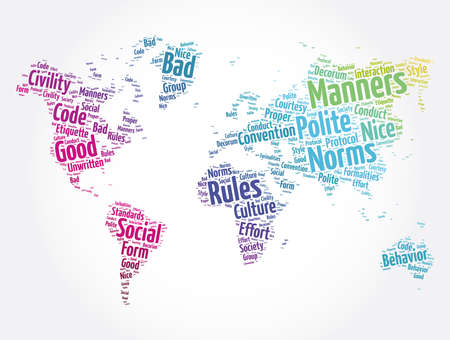 Manners word cloud in shape of world map, concept background