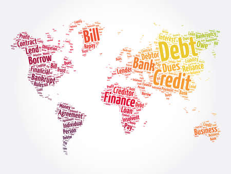 Debt world map word cloud collage, business concept background