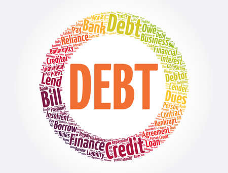 Debt word cloud collage, business concept background