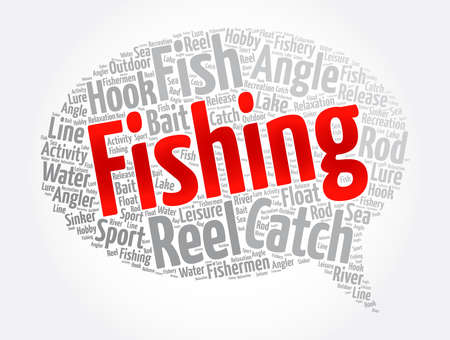 Fishing message bubble word cloud collage, concept background
