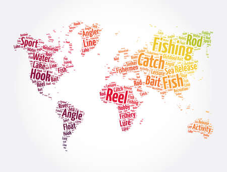 Fishing word cloud in shape of world map, concept background