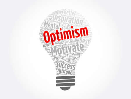 Optimism bulb word cloud collage, concept background