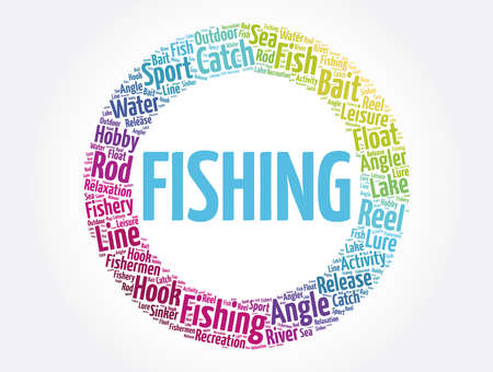 Fishing word cloud collage, concept background