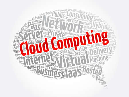 Cloud Computing message bubble word cloud collage, technology concept background