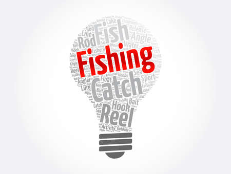 Fishing light bulb word cloud collage, concept background
