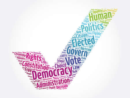 Democracy word cloud collage, concept background