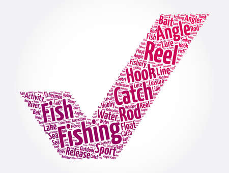 Fishing check mark word cloud collage, concept background