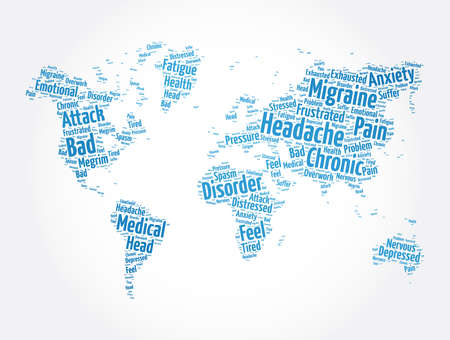 Headache word cloud in shape of world map, health concept background