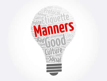 Manners word cloud collage, concept background Ilustración de vector