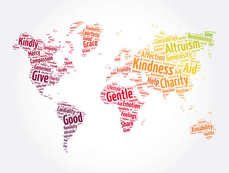 Kindness word cloud collage, concept background