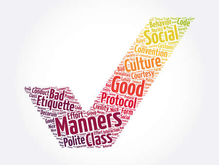 Manners check mark word cloud collage, concept background