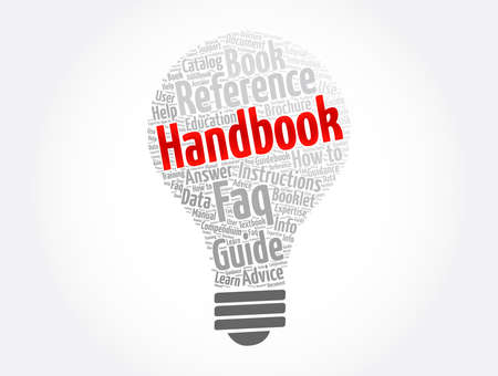 Handbook light bulb word cloud collage, concept background