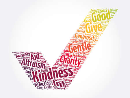 Kindness check mark word cloud collage, concept background