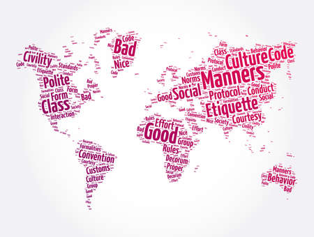 Manners word cloud in shape of world map, concept background Ilustración de vector