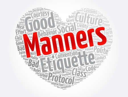 Manners heart word cloud collage, concept background