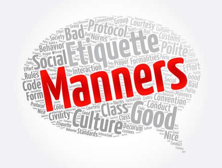 Manners message bubble word cloud collage, concept background Ilustración de vector