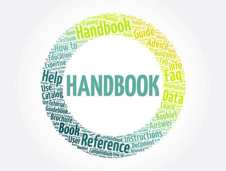 Handbook word cloud collage, concept background