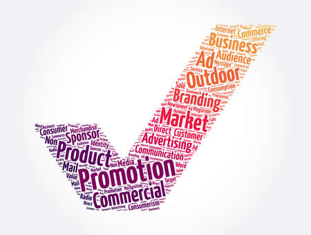 Promotion check mark word cloud collage, business concept background